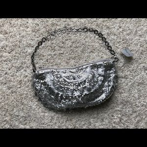 Aldo Metallic Silver Shimmering Party Purse NWT